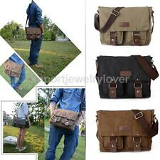 Mens Vintage Style Canvas Satchel School Military Single Shoulder Messenger Bag