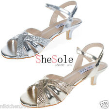 SheSole womens low kitten heels sandals  wedding dress party dance mother shoes