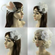 Feather Headpiece Satin Ribbon Rhinestone Headband Hair Accessories For Women