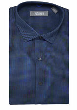 Kenneth Cole Reaction Slim Fit Ocean Blue Mini Check Wrinkle Free Cotton Shirt