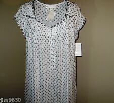 """NWT MED Eileen West Aster 42"""" Length Blended Cotton Night gown Cap Sleeve"""