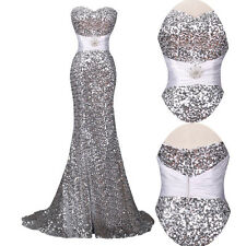 Shiny Formal Evening Long Gown Party Prom Ball Bridesmaid Dress Sequins Mermaid