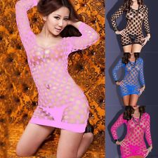 Women Lady Sexy Lingerie Fishnet Babydoll Mini Dress Set Underwear Body Stocking
