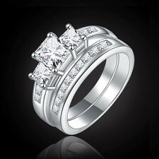White sapphire 925 Silver Filled Wedding Engagement Bridal Set Ring SIZE 6-10