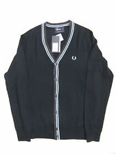 NEW FRED PERRY K3207 MENS NAVY BLUE MERINO WOOL CARDIGAN SIZE S
