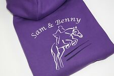 Personalised Embroidered Girls/Adults Show Jumping Horse Rider Hoodie 2 Colours