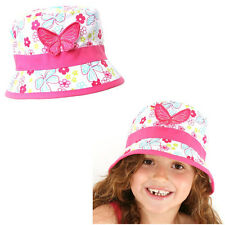 Girls Floral Print Cotton Bush Sun Hat with Butterfly Detail kids 4-6y/7-10y