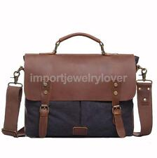 Vintage Canvas Leather Shoulder Messenger Briefcase Tote Bag Crossbody Bag