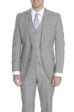 Alfani RED Slim Fit Light Gray Stepweave Two Button Three Piece Wool Suit