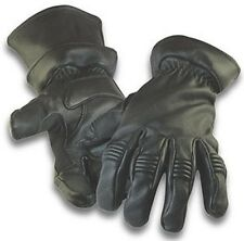 Mens Black Deerskin  2 in 1 Insulated Leather Motorcycle Gloves, Driving Gloves