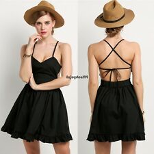 Sexy Women V-Neck Backless Cross Strap Ruffles Hem Cocktail Dress OO55