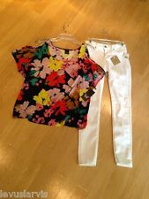 Ella Moss Floral Cold Shoulder Top in Sangria Modal Blend $98 NWT Size S Relaxed
