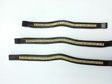 Diamante Browband high quality softee leather padded (Brown) with Amber Gems