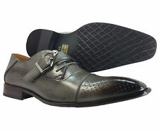New Men's Dress Shoes Oxford Lace Up Grey Majestic Side Buckle Italian Fashion