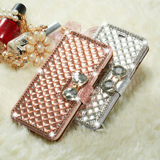 Bling Glitter Bowknot Crystal Diamond Wallet Flip Case Cover For Various Phone
