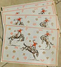 RODEO Cowboy Western Paper Placemats RARE