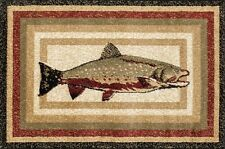 Fish Hearth Rug | Fire Resistant Rugs | Trout Rug | Cabin Fireplace Rugs