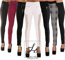 Ladies Women Black Red Slim Fit Leggings Trousers Leather Look Jeans Size 6-14
