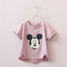 Girls Clothes Baby Pink Blouse Mickey Print O-neck T-shirt Kids Clothing White