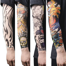 1/2/14pcs Nylon Fake Temporary Tattoo Sleeve Arm Stockings Tatoo For Men Women