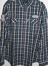 NWT Marc Ecko RUFF PATCH Navy, White, & Turquoise Plaid LS Shirt Patches Med,XL