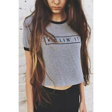 Summer Women Letter Print Loose Tops Tee Casual Short Sleeve T Shirt Blouse Lady