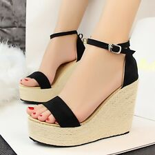 Chic Womens High Heels Platform Wedge Sandals Hemp Rope Weave Buckle Strap Shoes