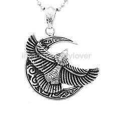 Mens Stainless Steel Silver Gold Moon Flying Eagle Charm Pendant Necklace