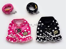 small pet Puppy girl Fancy dog mesh points crown harness marching leash lead set