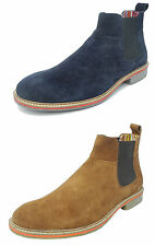 Mens Real Suede Leather Plain Pull On Chelsea Ankle Boots Size 6 7 8 9 10 11 12