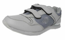 Mens Flat Sole Lightweight Velcro Bowls Shoes Bowling Trainers GREY Size 6-11