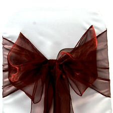 Burgundy Organza SASH BOW CHAIR COVER BOWS DECORATION FOR WEDDING PARTY