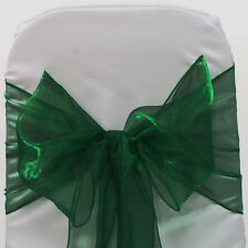 Hunter green Organza SASH BOW CHAIR COVER BOWS DECORATION FOR WEDDING PARTY