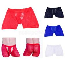 Sexy Mens Lace Sheer Boxer Briefs Open Front Bulge Pouch Underwear Shorts Thongs