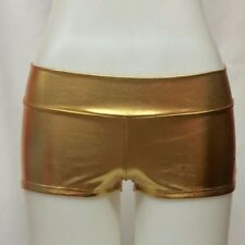 Gold Metallic Solid Color Booty Shorts