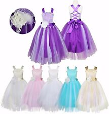 Flower Girl Princess Dress Kids Party Pageant Wedding Bridesmaid Tutu Gown Dress