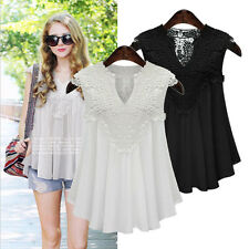 Womens V-Neck Vest Loose Sleeveless Tank T-Shirt Tops casual Blouse Summer Lace