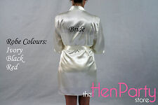 Ladies Personalised Bride Wedding Satin Robe Dressing Gown 8 10 12 14 16 18 20