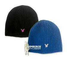 LYLE & SCOTT - 'HERITAGE' WOOL BLEND RIBBED BEANIE WITH EAGLE - BLACK OR BLUE