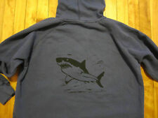 GREAT WHITE SHARK Hoodie Zipper Front Sweat Shirt Men's COMFORT COLORS Blue