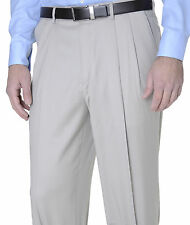 Club Room Classic Fit Solid Stone Beige Pleated Wool Dress Pants