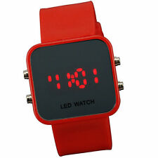 Red Jelly Silicone LED Digital Men Womens Square Creative Watch Mirror Sport