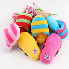 Dog Toy Pet Puppy Chew Play Squeaky Squeaker Cute Sound Plush Slipper Shape ST