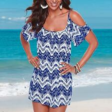 Fashion Women Sexy Strappy Off Shoulder Summer Wave Printed Beach Holiday Dress