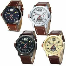CURREN Business Mens PU Leather Analog Army Military Quartz Wrist Watch Sport_UK