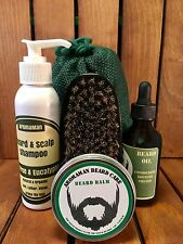 Aromaman Natural Beard Oil Balm Brush GIFT SET Choose Scent FATHERS DAY MENS