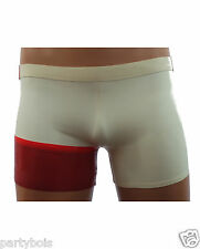 Mens rubber Latex hipster style shorts red and white to measure by PARTYBOIS