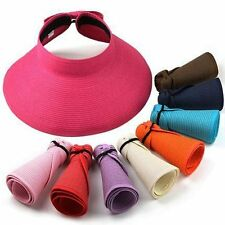 Women UPF 50+ Packable Crushable Roll Up Wide Brim Sun Visor Beach Straw Hat