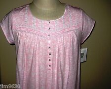 NWT LG XL Eileen West Pink &White Short Floral Soft Cotton Night gown Cap Sleeve