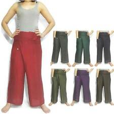 Thai Fisherman Wrap Long Pants Trousers Massage Yoga Rayon Cotton Unisex Casual